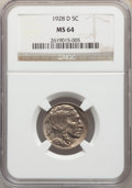 Buffalo Nickels: , 1928-D 5C MS64 NGC. NGC Census: (911/141). PCGS Population: (1496/489). CDN: $140 Whsle. Bid for problem-free NGC/PCGS MS64...