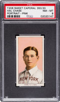Baseball Cards:Singles (Pre-1930), 1909-11 T206 Sweet Caporal 350/30 Hal Chase (Pink Portrait) PSA NM-MT 8 - Pop Three, None Higher for Brand! ...