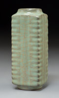 Ceramics & Porcelain:Chinese, A Chinese Celadon Cong Vase. 6-1/4 x 2-3/8 inches (15.9 x 6.0 cm). PROPERTY FROM A BEVERLY HILLS ESTATE. ...