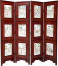 Furniture:Chinese, A Chinese Four-Fold Hardwood Screen with Inset Porcelain Plaques, 20th century . 72 x 76 inches (182.9 x 193.0 cm). PROPER... (Total: 2 Items)