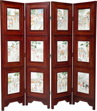 A Chinese Four-Fold Hardwood Screen with Inset Porcelain Plaques, 20th century 72 x 76 inches (182.9 x 193.0 cm)  PROPER...