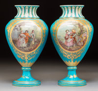 A Pair of Sèvres-Style Porcelain Vases, circa 1860 Marks: (interlaced L-P), (axe) Signed: P. 14-7/8 x 7-1/4 inche...