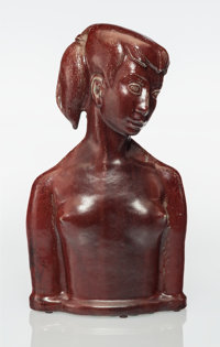 Helge Christoffersen (Danish, 1925-1965) Bust of a Young Woman, circa 1965, Royal Copenhagen Sung glazed stoneware 15