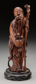 Asian:Chinese, A Chinese Carved Boxwood Figure of Shou Xing, early 20th century. 9-1/4 inches high (23.5 cm) (including base). ...
