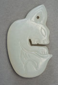 Carvings:Chinese, A Chinese Han-Style Carved White Jade Rabbit-Form Pendant. 1-5/8 x 1 inches (4.1 x 2.5 cm). ...