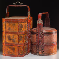 Two Chinese Woven Bamboo Wedding Baskets 24 h x 18 w x 12 d inches (61.0 x 45.7 x 30.5 cm) (larger)