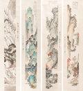 Paintings, After Pu Ru (Pu Xinyu) (Chinese, 1869-1963). The Four Seasons (four works). Ink and color on paper. 51-3/4 x 6-1/2 inche... (Total: 4 Items)