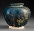 Ceramics & Porcelain:Chinese, A Chinese Turquoise Glazed Earthenware Jar, Song Dynasty or earlier . 4-3/4 x 5 inches (12.1 x 12.7 cm). ...