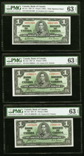 Canada Bank of Canada $1 1937 BC-21c; BC-21d (2) Three Examples PMG Choice Uncirculated 63 EPQ. ... (Total: 3 notes)