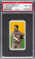 Baseball Cards:Singles (Pre-1930), 1909-11 T206 Piedmont 150 Mordecai Brown (Pitching, Cubs Jersey) PSA NM-MT 8 - None Higher!...