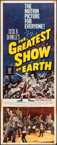 "Movie Posters:Drama, The Greatest Show on Earth (Paramount, R-1960). Folded, Fine/VeryFine. Insert (14"" X 36""). Drama.. ..."