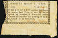 Colonial Notes:Connecticut, (Simsbury, CT)- Simsbury Bridge Lottery Ticket 1781 VeryFine-Extremely Fine.. ...
