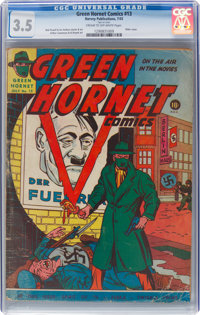 Green Hornet Comics #13 (Harvey, 1943) CGC VG- 3.5 Cream to off-white pages