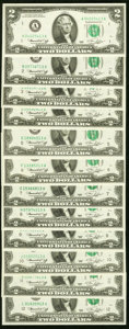 Complete District Set Fr. 1935-A-L $2 1976 Federal Reserve Notes. Twelve Examples with Each Serial Number Ending in &quo...
