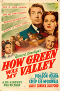 Movie Posters:Drama, How Green Was My Valley (20th Century Fox, 1941). Folded, ...