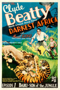"""Movie Posters:Serial, Darkest Africa (Republic, 1936). Fine on Linen. One Sheet (27.25"""" X 41"""") Chapter 1 -- """"Baru - Son of the Jungle."""" . ..."""