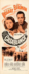 """Movie Posters:Academy Award Winners, Casablanca (Dominant Pictures, R-1956). Rolled, Very Fine-. Insert (14"""" X 36"""").. ..."""