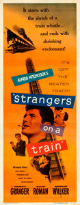 Movie Posters:Hitchcock, Strangers on a Train (Warner Brothers, 1951). Fine+ on Lin...