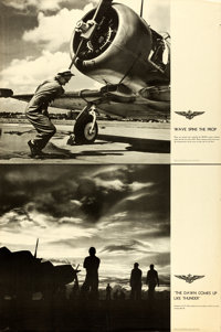 World War II U.S. Naval Aviation (U.S. Navy, Early 1940s). Rolled, Fine/Very Fine. Aviation Training Posters (3) (Approx...