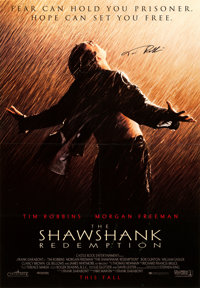 "The Shawshank Redemption (Columbia, 1994). Very Fine on Linen. Autographed One Sheet (27.5"" X 39.75"")"