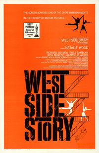 "West Side Story (United Artists, R-1963). Very Fine- on Linen. Autographed One Sheet (27"" X 41.5"") Saul Bass a..."