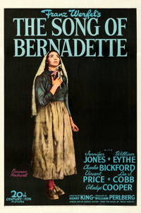 """The Song of Bernadette (20th Century Fox, 1943). Very Fine on Linen. One Sheet (27.5"""" X 41.25"""") Style B, Norma..."""