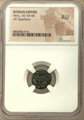 Ancients:Roman Imperial, Ancients: Nero (AD 54-68). AE quadrans (14mm, 6h). NGC AU....