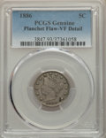 Liberty Nickels: , 1886 5C -- Planchet Flaw -- PCGS Genuine. VF Details. NGC Census: (15/381). PCGS Population: (43/807). CDN: $360 Whsle. Bid...