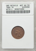 1864 1C L On Ribbon -- Scratched -- ANACS. Unc Details, Net AU50. CDN: $250 Whsle. Bid for problem-free NGC/PCGS AU50. M...