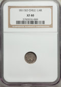 Chile, Republic 1/4 Real 1811 XF40 NGC,...