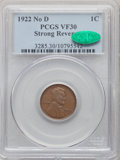 Lincoln Cents, 1922 1C No D, Strong Reverse, VF30 PCGS. CAC. PCGS Population: (813/1865). ...