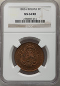 Bolivia: Republic 2 Centavos 1883-A MS64 Red and Brown NGC