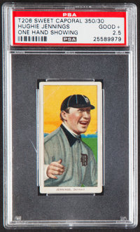 1909-11 T206 Sweet Caporal 350/30 Hughie Jennings (One Hand Showing) PSA Good+ 2.5