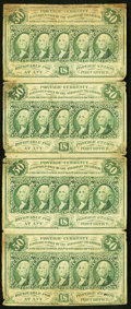 Fractional Currency:First Issue, Fr. 1312 50¢ First Issue Vertical Strip of Four Very Fine.. ...