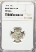 1915 10C -- Stained -- NGC Details. Proof. NGC Census: (1/132). PCGS Population: (1/165). PR60. Mintage 450