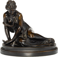A Jean-Baptiste Pigalle Bronze: Maiden with Shell, late 19th century Marks: Pigalle, MOTTHEAU, PARIS 7-1/2 x 8