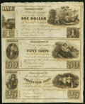 Williamsport, MD/Georgetown, DC- (John Garrett) at John H. King $1-50¢-25¢ 184_ Uncut Sheet Choice Crisp Uncir...
