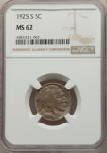 Buffalo Nickels: , 1925-S 5C MS62 NGC. NGC Census: (91/308). PCGS Population: (79/522). CDN: $900 Whsle. Bid for problem-free NGC/PCGS MS62. M...