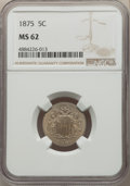 Shield Nickels: , 1875 5C MS62 NGC. NGC Census: (14/103). PCGS Population: (26/162). CDN: $280 Whsle. Bid for problem-free NGC/PCGS MS62. Min...