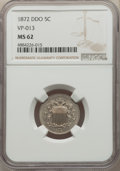 Shield Nickels, 1872 5C Doubled Die Obverse , VP-013 MS62 NGC. PCGS Population: (0/2). MS62. Mintage 6,036,000....