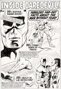 "Gene Colan and John Tartaglione Daredevil Annual #1 ""Inside Daredevil"" Page 1 Illustration Original Art (Marve..."