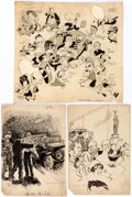 Original Comic Art:Illustrations, Norman Ritchie, Carl Rose, A.B. Schults, and Roy Nelson Goddessof Liberty and Other Original Art Group of 5 (1890... (Total: 5Original Art)