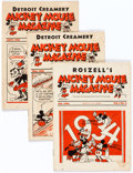Magazines:Humor, Mickey Mouse Magazine Dairy Giveaway Group of 3 (Walt Disney Productions, 1934-35) Average Condition for Group: VG.... (Total: 3 Comic Books)
