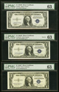 Small Size:Silver Certificates, Fr. 1611 $1 1935B Silver Certificate. PMG Choice Uncirculated 63;. Fr. 1613N $1 1935D Narrow Silver Certificate. PMG Choic... (Total: 3 items)