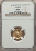 1999-W $5 Tenth-Ounce Gold Eagle, Unfinished Proof Dies, MS69 NGC. NGC Census: (2463/353). PCGS Population: (1892/52). C...