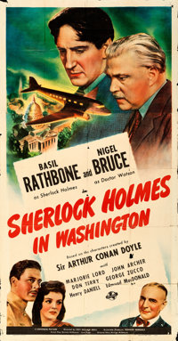 "Sherlock Holmes in Washington (Universal, 1943). Folded, Fine+. Three Sheet (41"" X 79"")"