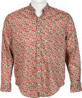 Music Memorabilia:Costumes, Elton John Owned Red Floral Long-Sleeved Shirt. . ...