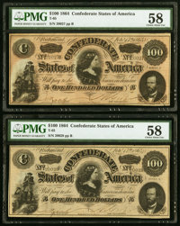 T65 $100 1864 PF-3 Cr. 494 Two Examples PMG Choice About Unc 58. ... (Total: 2 notes)