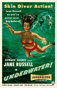 "Underwater! (RKO, 1955). Very Fine- on Linen. One Sheet (27"" X 41.5"")"
