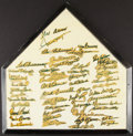 Autographs:Others, 1980s-90s Hall of Famers Multi-Signed Home Plate (50+ Signatures)....